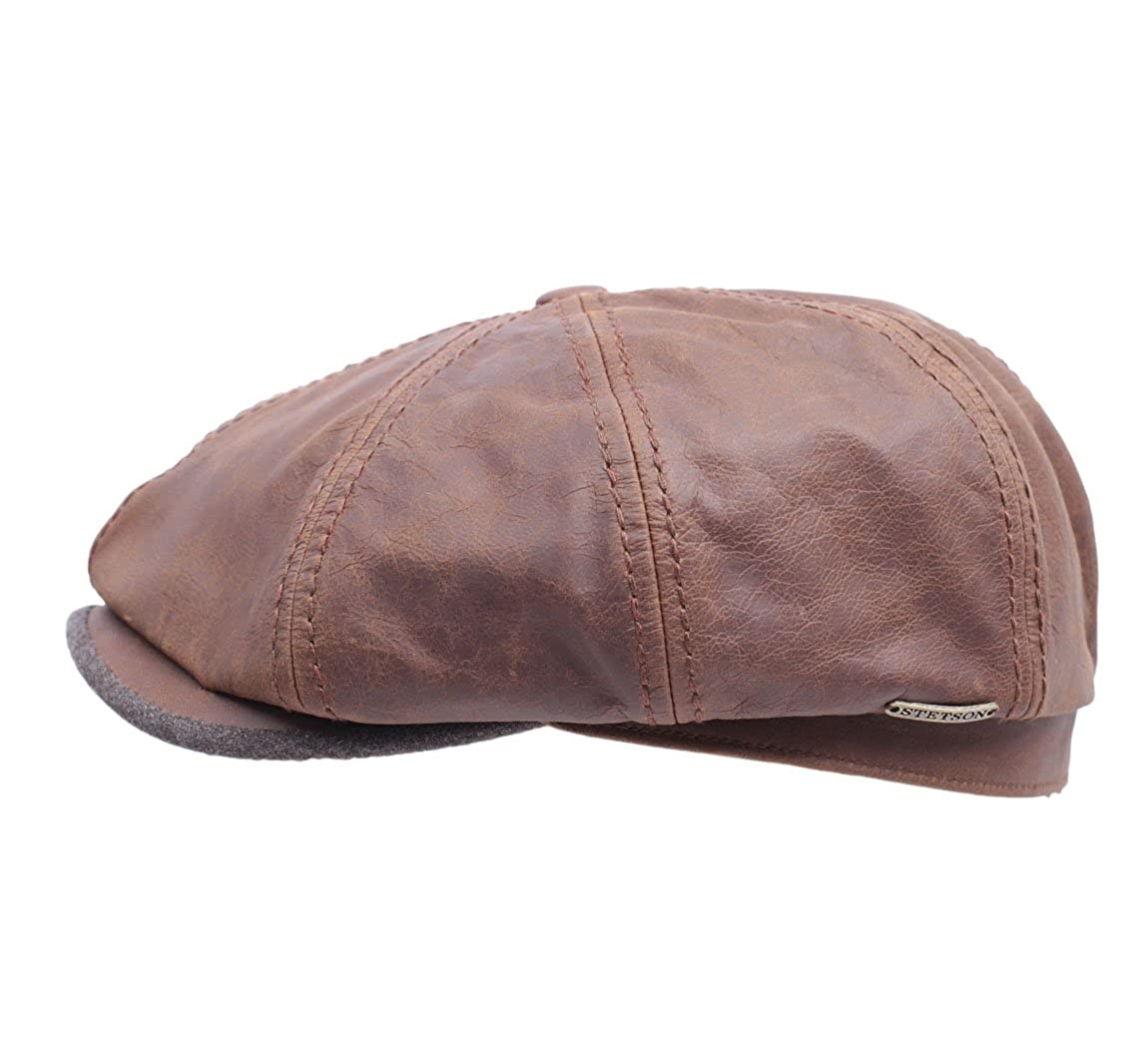 46350e476c2 Stetson Hatteras Goatskin Leather Flat Cap Size L Brown  Amazon.ca   Clothing   Accessories