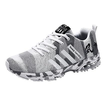 5e2625e292ad0 LuckyGirls Hombre Zapatillas de Correr Camuflaje Malla Casual Calzado de  Deporte Transpirables Zapatos Deportivos con Cordones