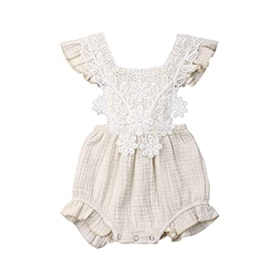 c7a664a33a2 Mealeaf ❤ Newborn Infant Baby Girl Lace Floral Romper Bodysuit Sleeeless  Clothes Outfits