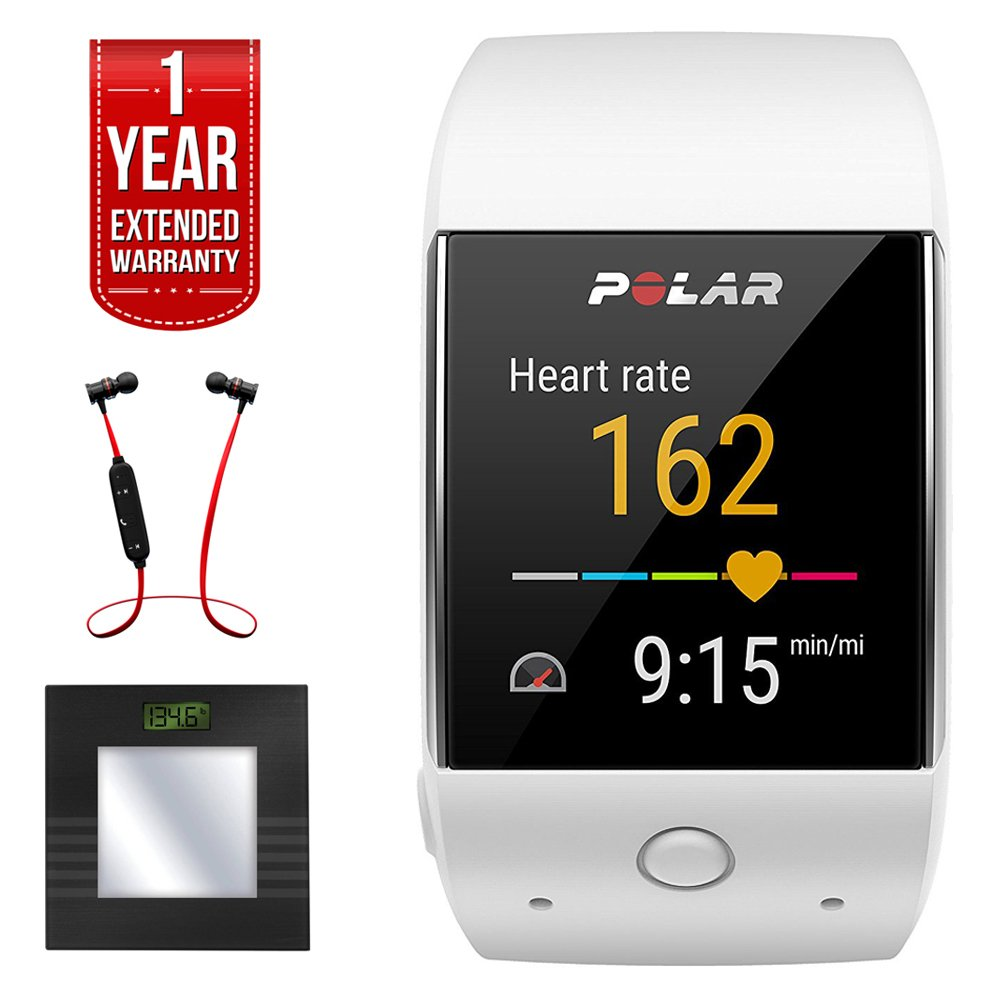 Polar M600 Sports GPS Smart Watch - White (90063089) + Bally Total Fitness Bluetooth Digital Body Mass Bathroom Scale (Black) + Fusion Bluetooth Headphones Black/Red + 1 Year Extended Warranty by Polar