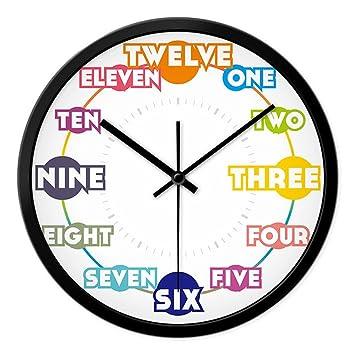 AIZIJI Reloj de Pared Inglés Digital Creativa Sala Mute Reloj de Cuarzo Minimalista niños Art Deco Reloj Pared, 35 cm: Amazon.es: Hogar