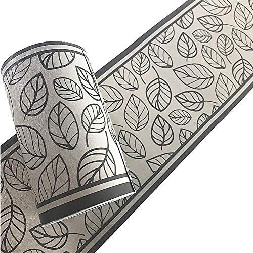 Yija Gray Leaves PVC Self Adhesive Wallpaper Border Peel and Stick Wall Borders for Bathroom Bedroom Living Room Home Decor Wall Stickers 3.94 inch X 32.8 feet