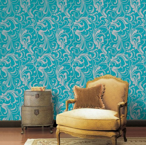 Turquoise Green / Grey Floral Wallpaper For Walls - Double Roll - Adore Splashy Corsage - By Romosa Wallcoverings - Turquoise Wall Tile