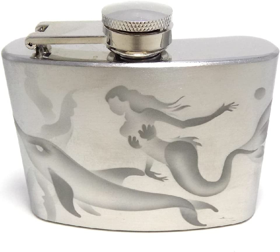 IncisoArt Hand Etched Stainless Steel Flask Sandblasted (Sand Carved) Upgraded 304 SS with Funnel (Mermaid Dolphins, 4 Ounce)