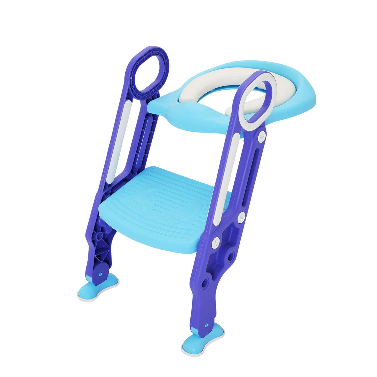 Children Potty Training Seat with Ladder - CrazyLynX Adjustable Baby Toilet Trainer Seat with Step Stool Ladder and Soft Toilet Seat, Sturdy & Non-Slip, for Todderls Baby Children (Purple & Blue)
