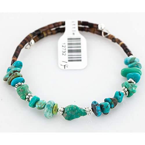 $80 Tag Authentic Made by Charlene Little Navajo Native American Natural Turquoise Adjustable WRAP B...