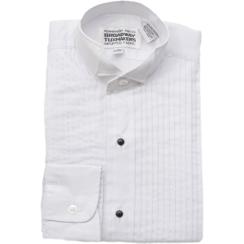 New Era Factory Outlet Boys 1//4 Wing Tip Collar White Tuxedo Shirt