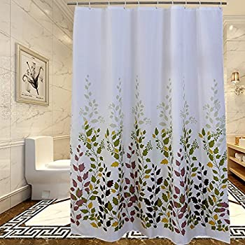 floral shower leaf bathroom mildewproof polyester fabric 72 x