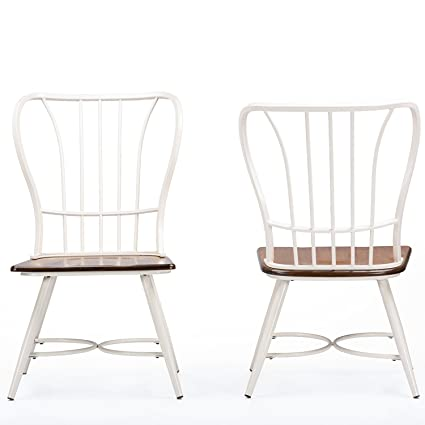 09994a99e0 Image Unavailable. Image not available for. Color: Baxton Studio Longford  Dark-Walnut Wood and White Metal Vintage Industrial Dining Chair ...