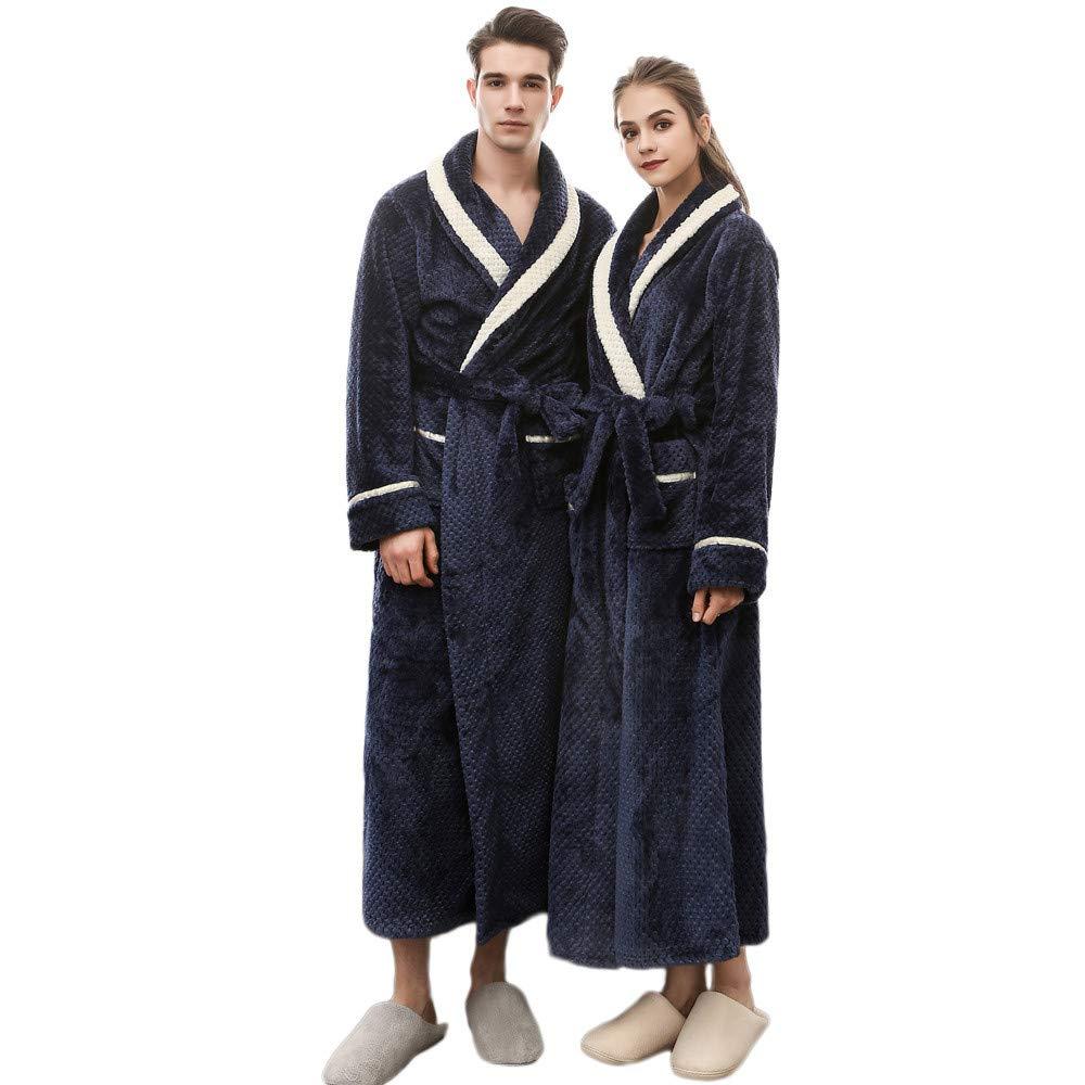 Clearance Sales Christmas Unisex Winter Plush Shawl Bathrobe Lengthened Thicken Kimono Robe Homewear Soft Sleepwear (Navy, M)