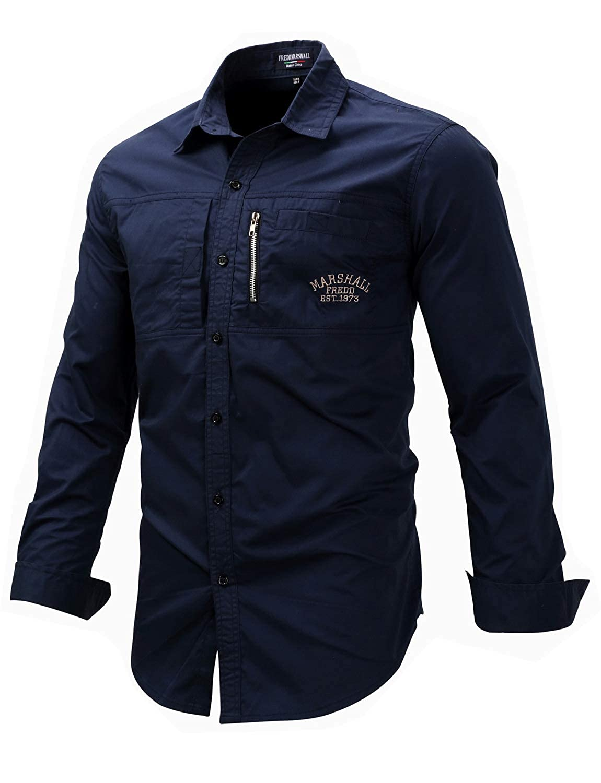 DGMJ Men Outdoor Casual Button Down Shirts Long Sleeve Regular Fit Fashion Leisure Lapel Shirt CS002