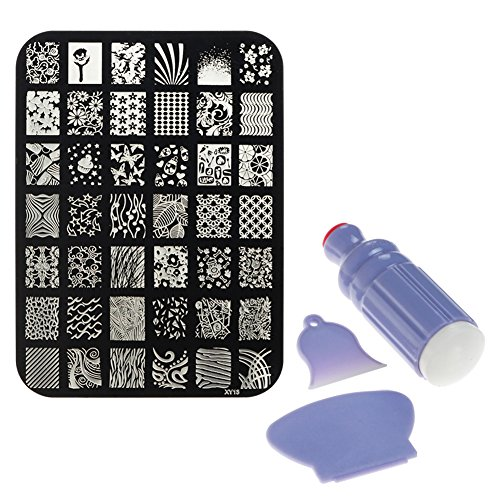 Nail Stamping Kit | 42 Various Designs in 1 Manicure Plate with 1 Nail Art Stamper and 2 Polish Scrapers | Easy to Use Nail Stamping Set for Beginner and Professional | Black and Blue | 1497