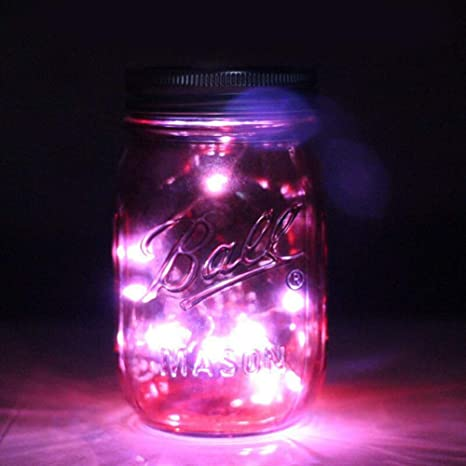 Mkiki 10LEDs Solar Fairy Cuerda Luz Caja Tarro Tapa Jardín Cubierta Fiesta Decoración Noche Luces - Rojo: Amazon.es: Hogar