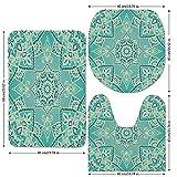 3 Piece Bathroom Mat Set,Turquoise,Arabic Islamic Persian Ottoman Motifs Turkish Iranian Ethnic Artsy Mandala Boho,Yellow Blue,Bath Mat,Bathroom Carpet Rug,Non-Slip