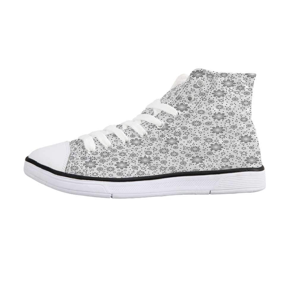 Grey and Yellow Comfortable High Top Canvas ShoesUnder The Sea Inspired Flowers Abstract Swirls Backdrop for Women Girls,US 5
