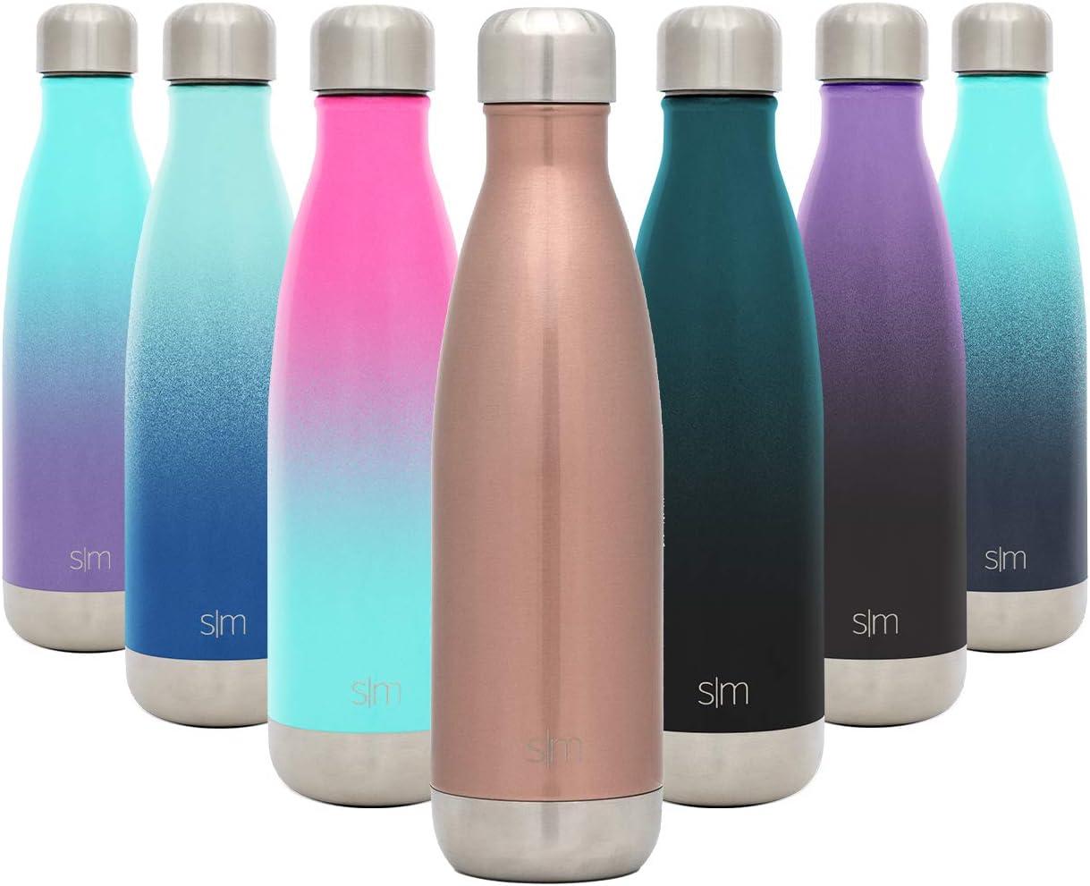 Simple Modern Wave 500ml Termo Botella Agua Acero Inoxidable, Botella termica Mantiene el Frio por 24 Horas Aislada al Vacío Doble Pared para Deporte café o Viaje -Oro Rosa