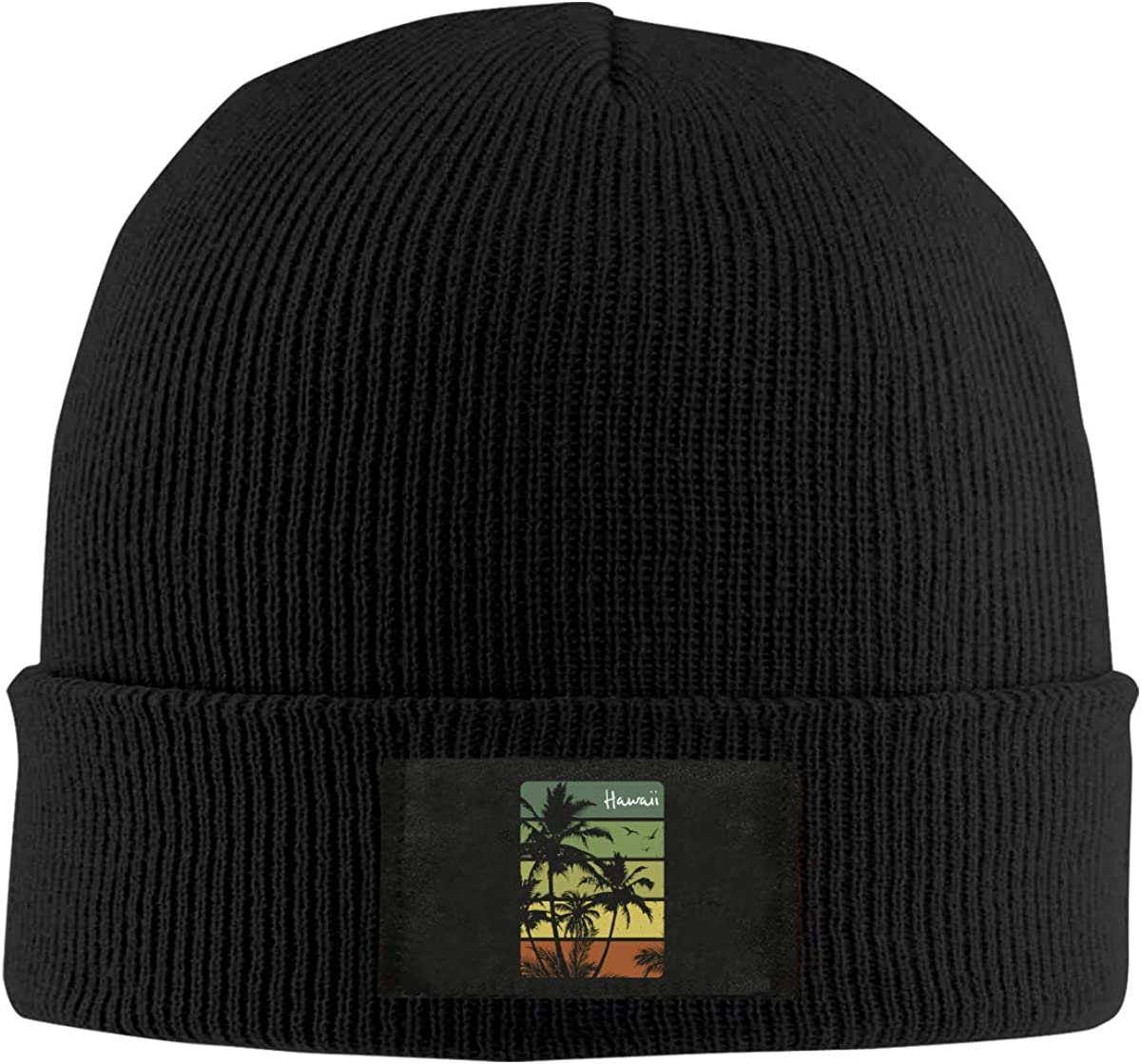 Unisex Vintage Hawaiian1 Skull Cap Knit Wool Beanie Hat Stretchy Solid Daily Wear
