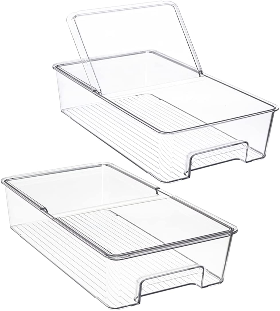 Refrigerator Organizer Bins Plastic Food Storage Container,with Lid and Handle,Food Fresh for Fridge, Freezer, Kitchen Cabinet, Pantry Organization Food,Holds Furit Vegetables