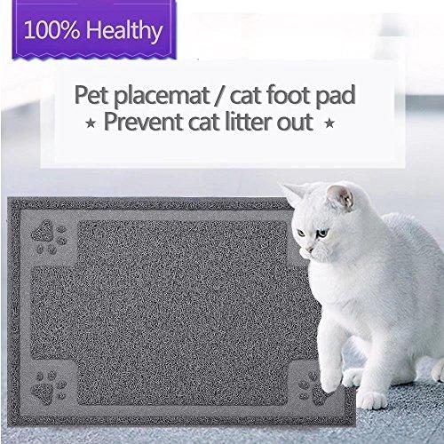 GOGOKING Cat Mat PVC Litter Mat Dog Feeding Mat Pet Foot Pad Waterproof Pet Food Mat Cushion For Pet (grey (Cat Foot Pads)