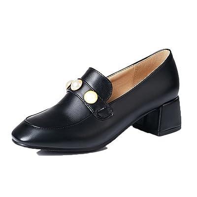 AgooLar Femme à Talon Correct Couleur Unie Tire PU Cuir Carré Chaussures Légeres