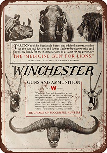 1910-Winchester-Guns-and-Ammunition-10-x-7-Vintage-Look-Reproduction-Metal-Sign