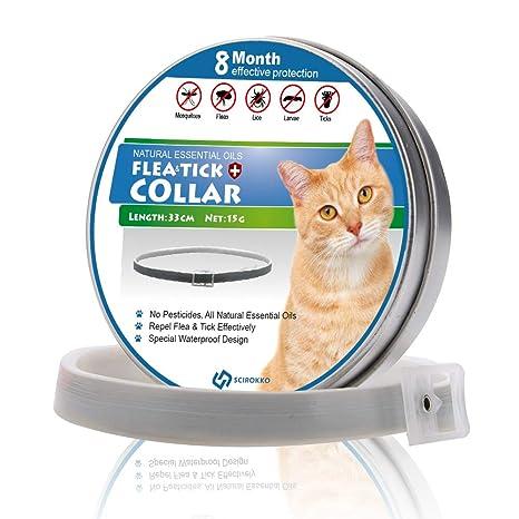 SCIROKKO Collar de pulgas de Gato con aceites Esenciales Naturales – Tratamiento de pulgas y garrapatas para Gatos – 8 Meses de protección 33 cm