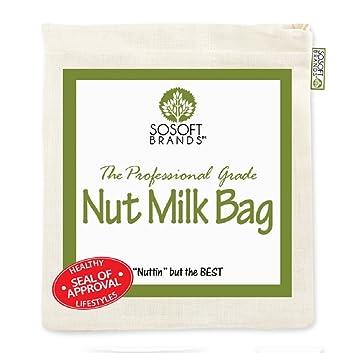 Sosoft marcas Nut Milk Bag – grande 12 en x12In profesional grado – reutilizable de almendro