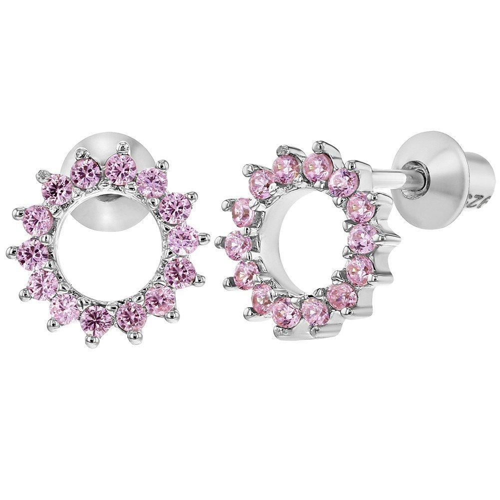 Argent sterling 925Rose CZ rond ouvert Boucles d'oreilles à vis pour tout-petits enfants In Season Jewelry