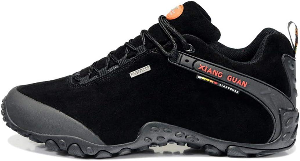 Xiang Guan Men's Outdoor Lace-up Low-top Footwear Suede Waterproof Breathable Shoes Trekking Travelling Hiking Walking Sneaker Black
