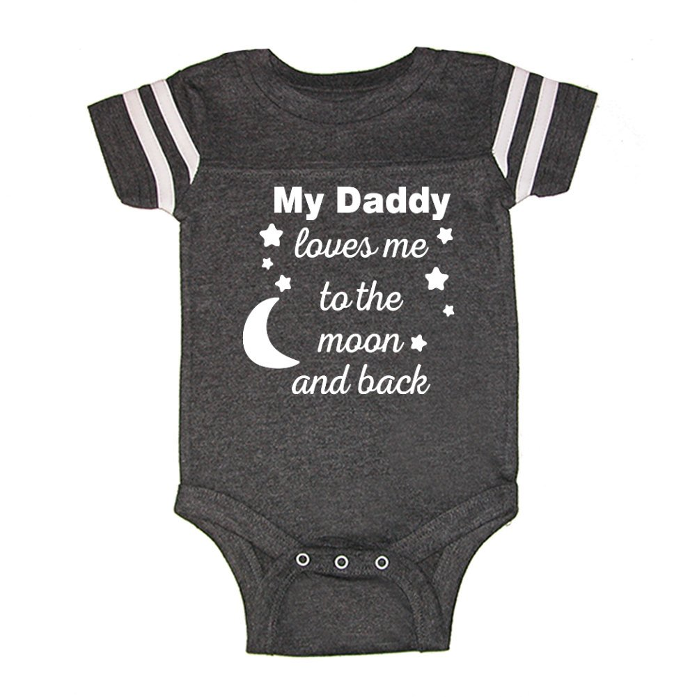 Mashed Clothing My Daddy Loves Me To The Moon and Back - Daddy Gift Father's Day - Football Style Baby Bodysuit (Smoke, 6 Months)