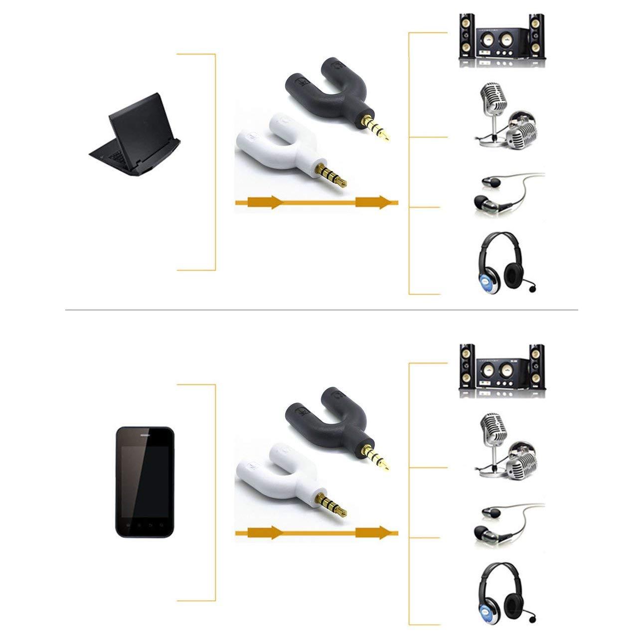 Ballylelly Auricular Micr/ófono Divisor 3.5mm Audio Divisor U Jack a Auricular Micr/ófono 2 V/ías U Divisor Convertidor Adaptador