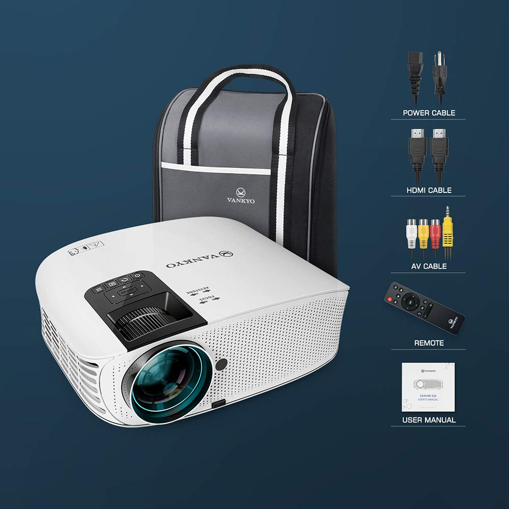 VANKYO Leisure 510 HD Movie Projector with 4000 Lux, Video Projector with 200'' Projection Size, Support 1080P HDMI VGA AV USB with HDMI Cable and Carrying Bag