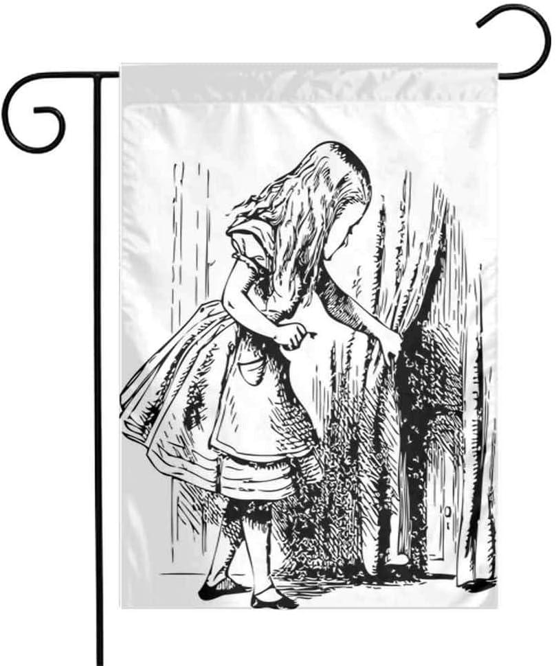Amazon Com Zmstroy Folding Garden Flag Alice In Wonderland Black And White Alice Looking Through Curtains Hidden Door Adventure Double Stitched 12 5 X 18 Inch Black White Garden Outdoor