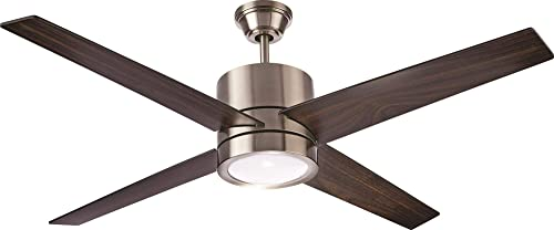 NOMA Ceiling Fan with Light Reversible Maple or Distressed Walnut Blades Dimmable with Remote Brushed-Nickel Finish, 52-Inch