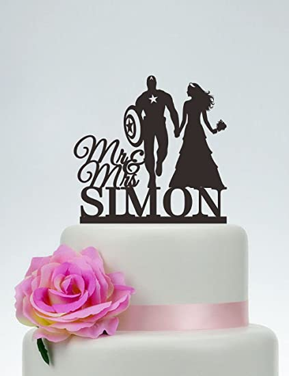 Personalized Superman with Mage Bride with Name Wedding Cake Topper