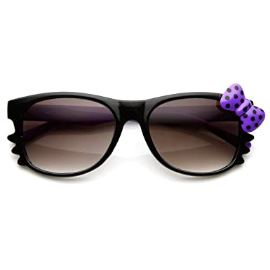 0baba3e265 zeroUV - Polka-Dot Bow Two-Tone Color Kitty-Cat Horn Rimmed Sunglasses  (Black-Purple Purple Bow)  Amazon.co.uk  Clothing