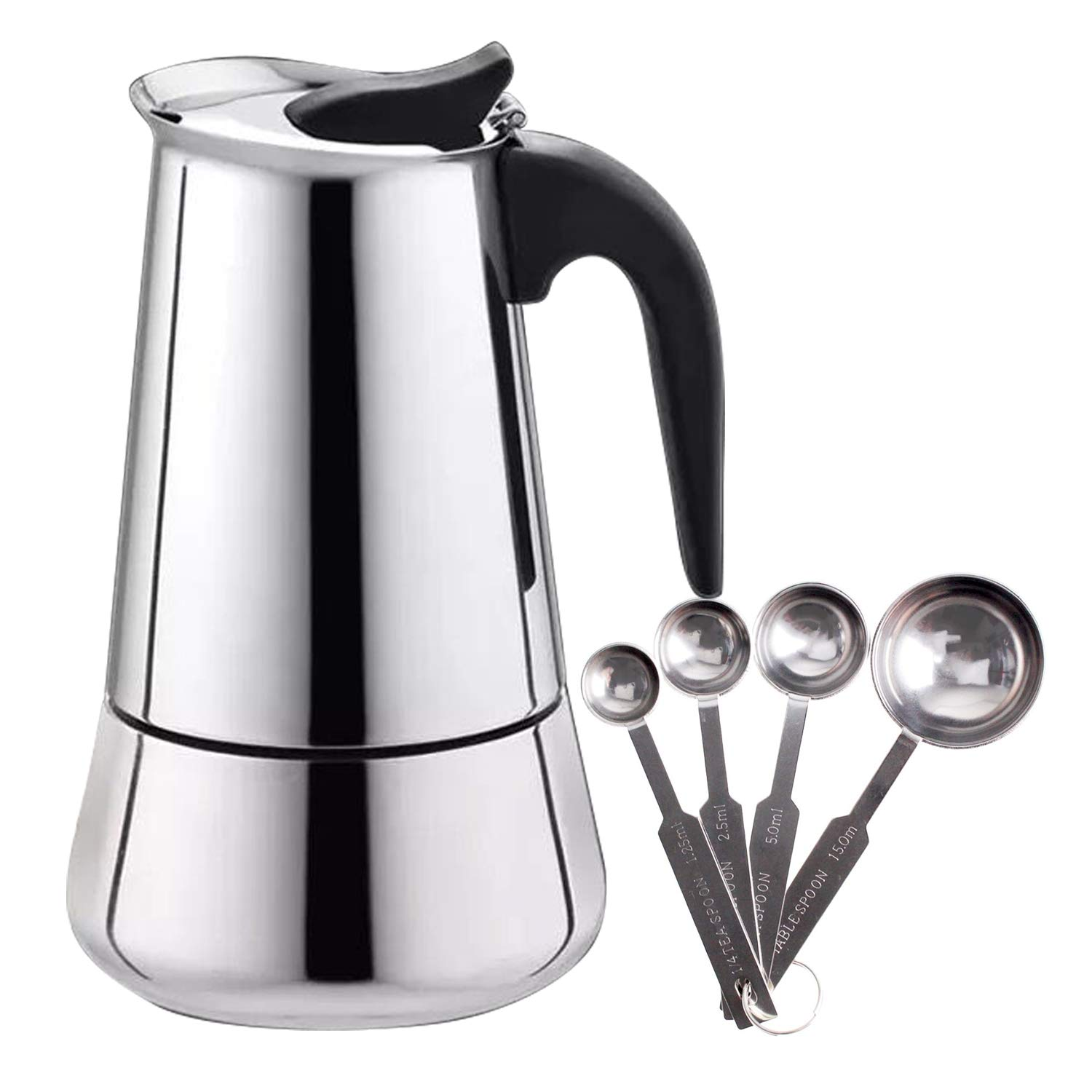 Espresso Maker Stovetop Stainless Steel Moka Pot Coffee Broad base- 9 Cup with Coffee Scoops Measuring Spoons.