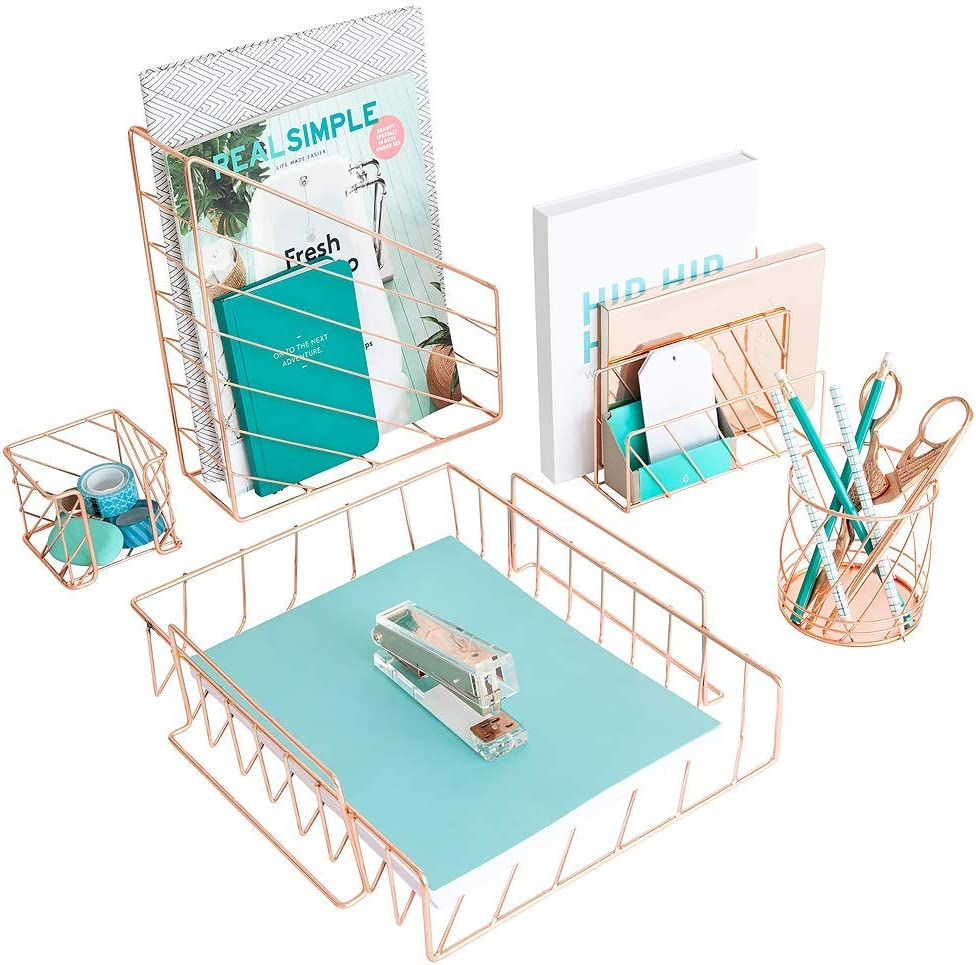 Blu Monaco Desk Organizer with File Sorters and Drawer Gold