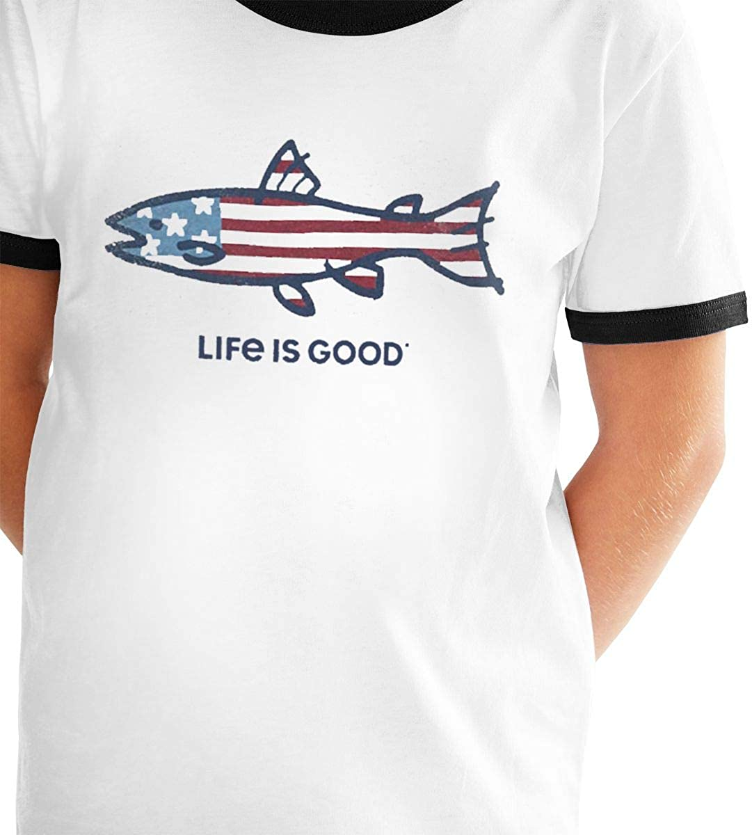 Life is Good Casual Loose Short Sleeve Tops Tee Shirts for Boys Girls