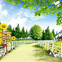 Beautiful Garden Plants White Fence Photography Backdrops Green Tree Sunflower Road Backgrounds for Photo Studio 150cm*200cm