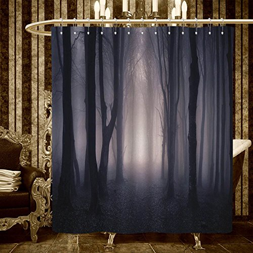 (smallbeefly Forest shower curtains sets bathroom Path Through Dark Deep in Forest with Fog Halloween Creepy Twisted Branches Picture Satin Fabric sets bathroom 84