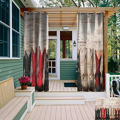 leinuoyi Western, Outdoor Curtain Ties, American Legend Cowgirl Leather Boots Rustic Wild West Theme Cultural Print, Outdoor Curtain Panels for Patio Waterproof W108 x L96 Inch Beige Red Black