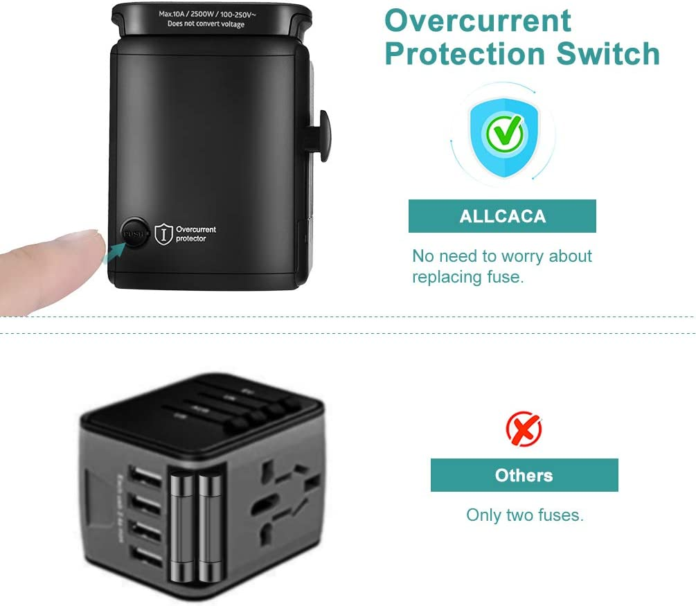 Upgraded International Travel Adapter allcaca Universal Power Adapter All-in-one Worldwide Travel Charger Socket with 3 USB Ports PD and QC3.0 port Travel Plug Adapter for EU//UK//AU//US//JPN//CN//HK Black
