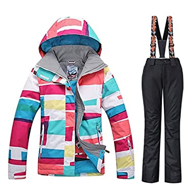 497c535ea5 Women s Hooded High Windproof Waterproof Technology Colorful Printed Ski  Suit Snow Jacket Pants Set Black