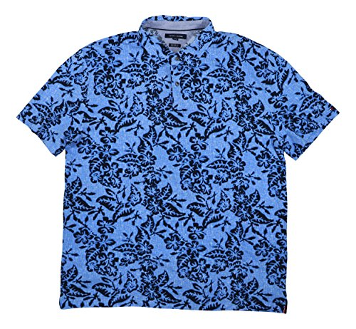 m Tailored Fit Floral Collection Cotton Polo Shirt (Blue, XX-Large) ()