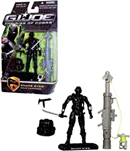 "Hasbro Year 2009 G.I. JOE Movie Series ""The Rise of Cobra"" 4 Inch Tall Action Figure - Ninja Commando SNAKE EYES with Uzi Sub-Machine Gun, Backpack, Katana Sword, Zip-Line Shooter, Zip-Line Trolley and Display Stand"