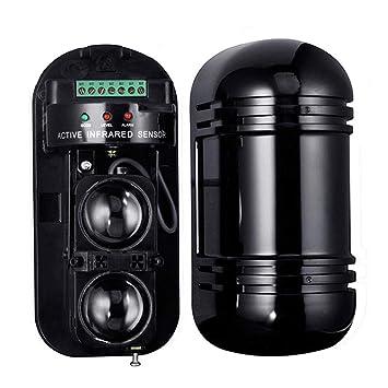 iShiné Detector de radiación infrarroja, Detector infrarrojo Activo de Seguridad de Doble Haz, Alarma (300 Metros en Interiores y Exteriores a 100 Metros): ...