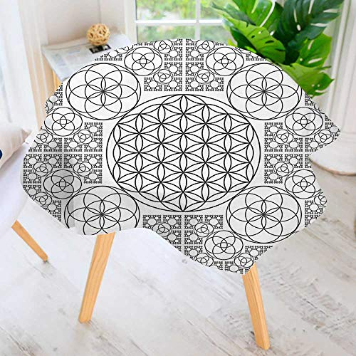 UHOO2018 Spillproof Polyester Fabric Round Tablecloth-Decor Interlace Life of Seed Patterns with Multiple Spiral Lines Image Black White Elegant Printed Table Cloth 71