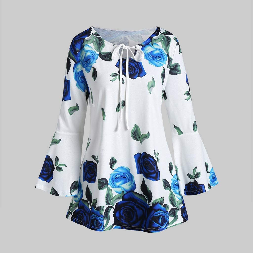 Exteren Womens Plus Size Floral Print Flare Sleeve Tops Blouse Keyhole T-Shirts Hooded
