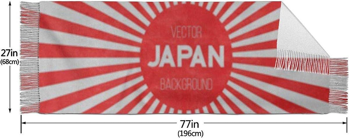 Fashion Lady Shawls,Comfortable Warm Winter Scarfs Red Sun Of Japan Flag Retro Sunburst Effect Pattern Graphic Soft Cashmere Scarf For Women